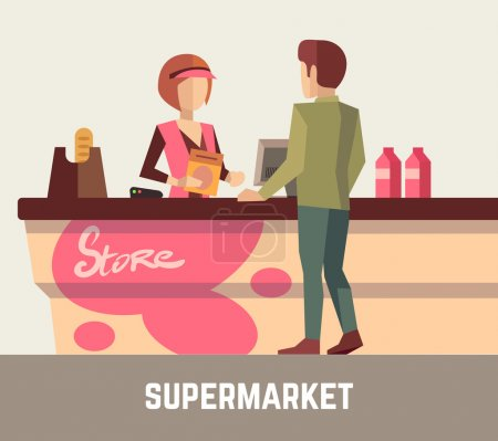 Supermarket store assistant, cashier woman at cash register and customer. Vector illustration