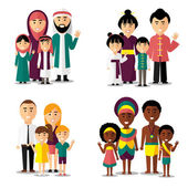African asian arab and european families Vector characters icons set