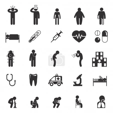 Illustration for Sick icons. Sick people vector pictograms. Sick set icon, ill and sick sign, sick man icon illustration - Royalty Free Image