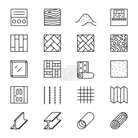 Building materials line vector icons
