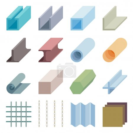 Produits de la métallurgie vector icons. Éléments en 3d isométriques