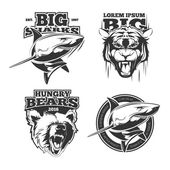 Retro vector labels with grizzly shark and tiger