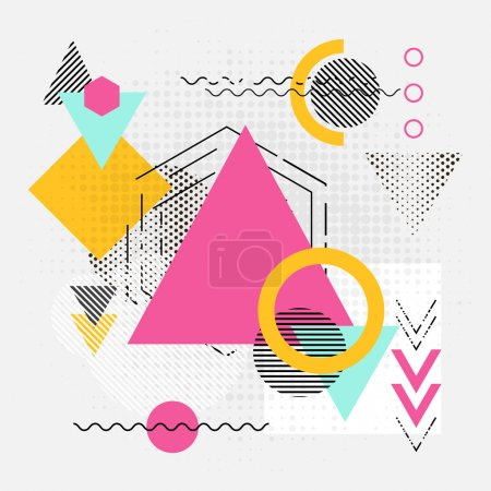 Illustration for Abstract geometric shapes background. Modern backgdrop with lines, arrows and triangles chaos polygonal patterns. Vector illustration - Royalty Free Image