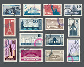 Travel vacation postage stamp with architecture and world landmarks