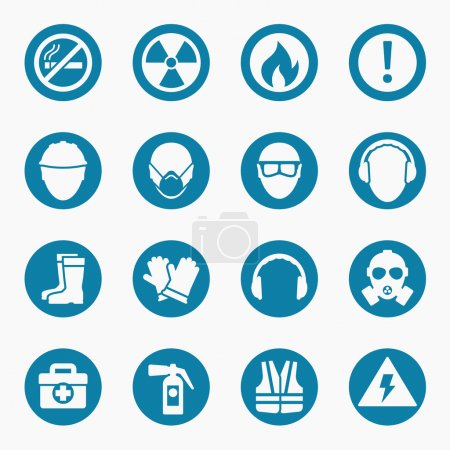 Illustration for Occupational health icons and occupational safety signs. Protective helmet goggles and footwear from radiation. Vector illustration - Royalty Free Image