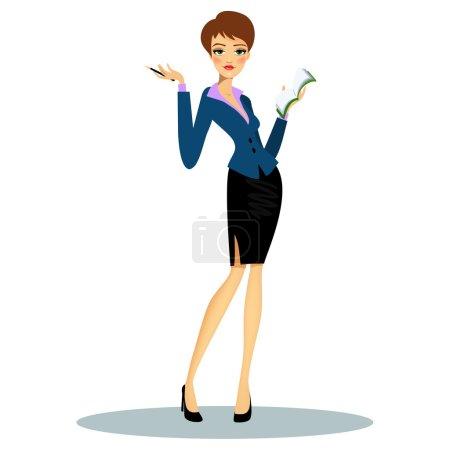 Illustration pour Caricature secrétaire professionnelle féminine ou planificateur d'entreprise portant des vêtements formels tout en prenant des notes à l'ordre du jour - image libre de droit