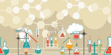 Illustration pour Infographie de chimie dans un modèle horizontal sans couture avec une série de flacons coniques Erlenmeyer et béchers avec diverses solutions chimiques et réactions dans une longue ligne sur les diagrammes de structure atomique - image libre de droit