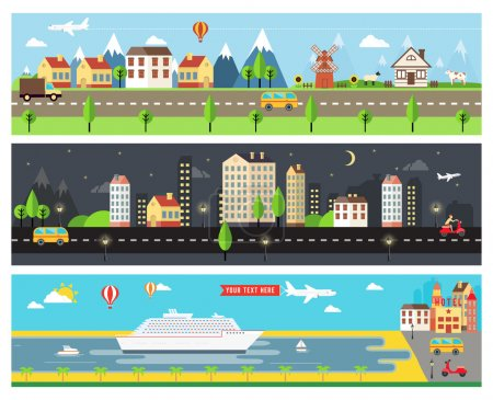 Illustration for Beautiful Vector Cartooninzed City Landscape Banners for Webpages - Royalty Free Image