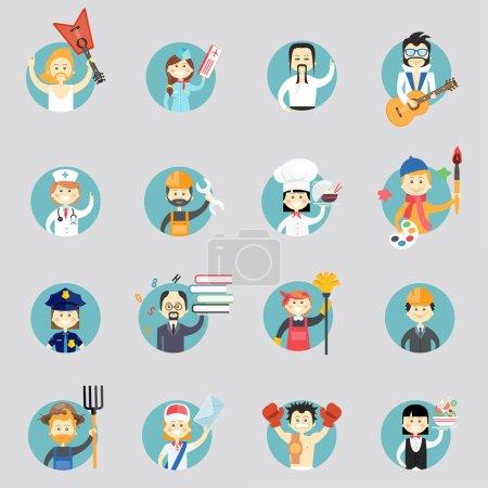 Photo pour Badges avec avatars de différentes professions avec musiciens arts martiaux médecin construction ouvrier chef artiste policier professeur nettoyeur architecte postier et serveuse - image libre de droit