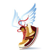 Winged sports shoe icon with a trendy brown sneaker or trainer with red laces and blue feathered wings for speed on white