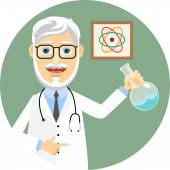 Elderly doctor or pharmacist wearing a lab coat and stethoscope and brandishing a flask with a chemical solution doing chemical experiments and biomedical research  vector illustration