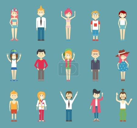 Illustration pour Différents beaux vecteur Adolescent dessins animés isolé bleu vert fond - image libre de droit