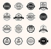 Vector Black and White Retro Stamps and Badges Isolated on White Background