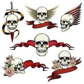 Set of commemorative skull icons
