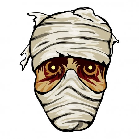 Ghoulish face of a mummy wrapped in bandages