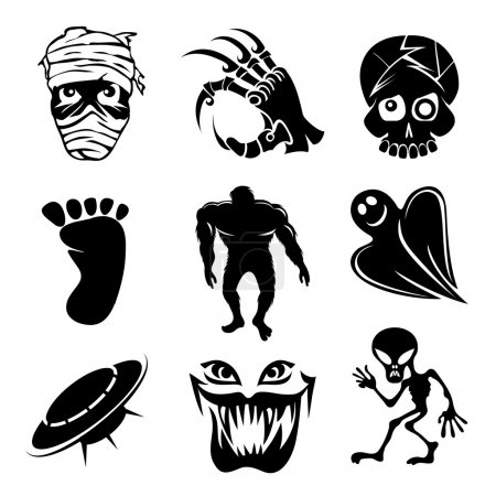 Illustration for Set of ghost  ghouls and alien icons depicting fear and horror with a mummy  skeletal hand  skull  bigfoot  monster hulk  ghost  alien  flying saucer and vampire for Halloween - Royalty Free Image