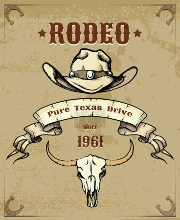 Photo for Rodeo Themed Graphic with Cowboy Hat and Cattle Skull - Royalty Free Image