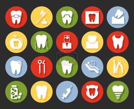 Illustration pour Icônes dentaires vectorielles de style plat fixées sur des boutons Web colorés montrant un dentiste examen caries implant brosse à dents antibiotiques couronne remplissage appareils et appareils à rayons X - image libre de droit