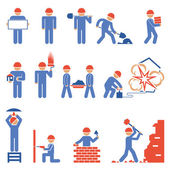 Various Blue and Red Building and Demolition Construction Character Icons