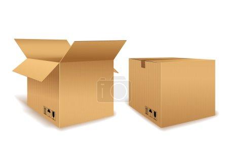 Illustration pour Graphique vectoriel d'une boîte en carton ouverte et d'une boîte fermée pour l'emballage sur fond blanc - image libre de droit