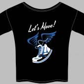 Trendy black T-shirt printed with a winged flexible sneaker below the motivational message urging to move