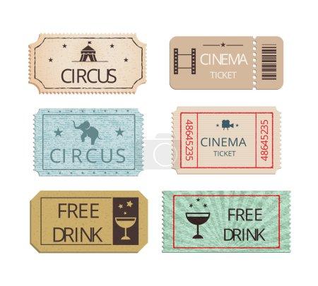 Illustration pour Ensemble vectoriel de billets de cirque et de fête de cinéma vintage montrant des billets d'entrée perforés avec des icônes représentant l'éléphant boisson gratuite et le Big Top avec deux billets boisson gratuite pour des rafraîchissements - image libre de droit
