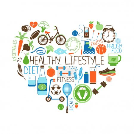 Illustration for Healthy Lifestyle  Diet and Fitness vector sign in the shape of a heart with multiple icons depicting various sports  vegetables  cereals  seafood  meat  fruit  sleep  weight and beverages - Royalty Free Image