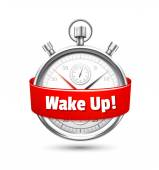Silver stopwatch with a message urging to wake up