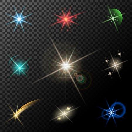 Illustration pour Lumières, étoiles et scintillements vectoriels lumineux sur fond transparent - image libre de droit