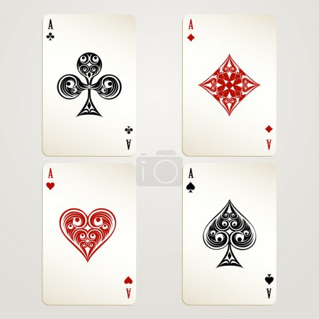 Illustration for Four aces playing cards vector designs showing each of the four suits in red and black conceptual of a casino and gambling - Royalty Free Image