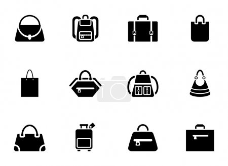 Illustration for Assortment of Black Baggage Icons on White Background - Royalty Free Image