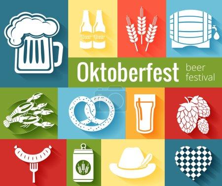 Illustration pour Ensemble d'icônes vectorielles Oktoberfest avec un réservoir de bière orge houblon tonneau homard bretzel bouteilles de saucisse et un chapeau sur fond coloré - image libre de droit