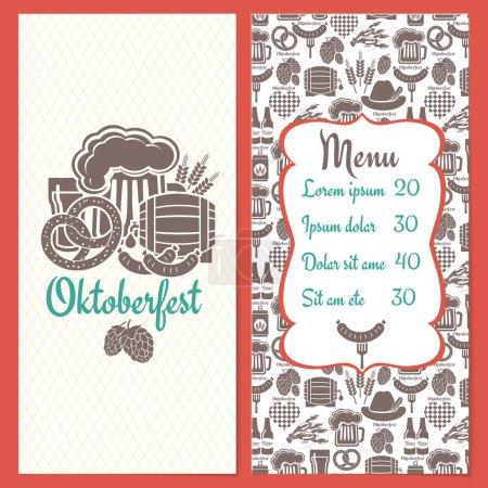 Illustration pour Modèle de menu Oktoberfest avec un cadre contenant une liste de prix entourée d'une variété d'icônes de nourriture et de boissons avec un réservoir de bière orge houblon tonneau bretzels de homard bouteilles de saucisses et un chapeau - image libre de droit