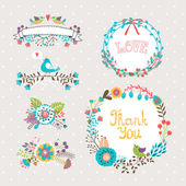 Vector hand drawn graphic flowers and wreaths set for invitations and greeting cards