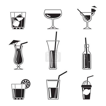 Illustration pour Assortiment d'icônes de cocktail noir sur fond blanc - image libre de droit