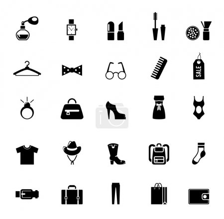 Assortment of Black Clothing and Accessory Icons
