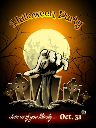 Halloween Party Invitation with Zombie Graphic