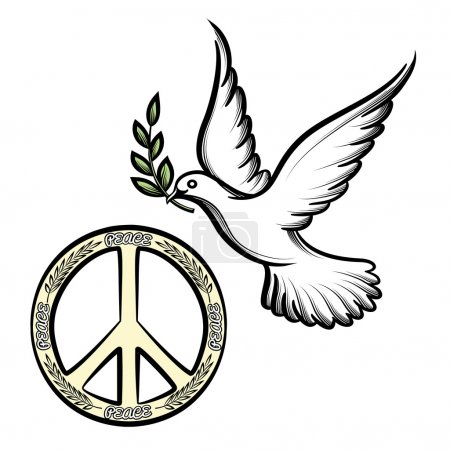Illustration for Pacific anti-war symbol for nuclear disarmament  now an international peace symbol  and the dove of peace with an olive branch vector icons to promote harmony and peace worldwide - Royalty Free Image