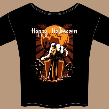 T Shirt with Halloween Zombie Graphic