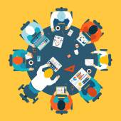 Brainstorming and teamwork concept with a broup of busdinessman having a meeting around a round table sharing ideas and problem solving  overhead view vector illustration