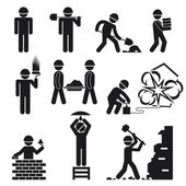 Vector construction and demolition buildings pictogram icons with silhouettes of construction workers