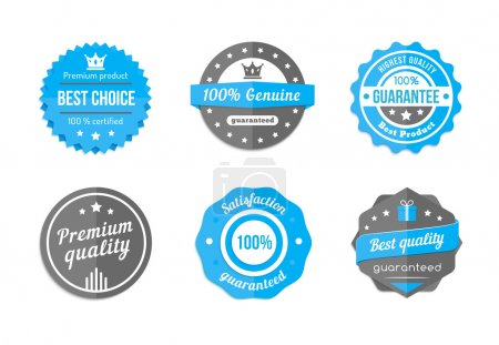 Illustration for Guarantee, quality and best choice vector vintage blue badges - Royalty Free Image