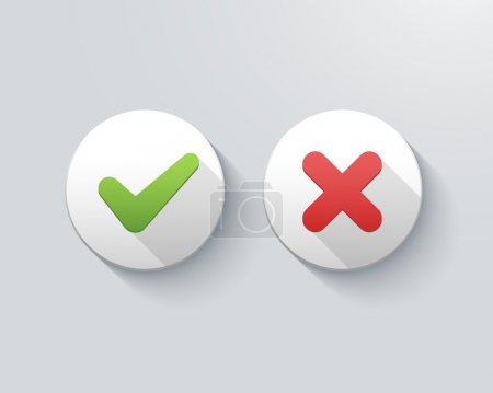 Illustration for Vector check mark icons, tick and cross on buttons - Royalty Free Image