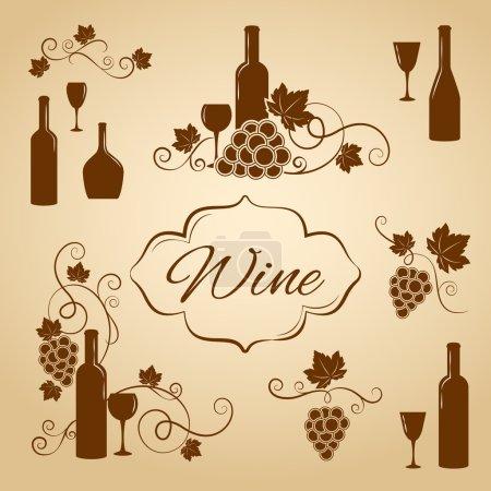 Illustration pour Eléments de conception de vin vintage pour un menu avec des bouteilles de vin gobelets verres à vin et des grappes de raisin avec des feuilles de vigne en sépia et silhouette vectorielle marron - image libre de droit