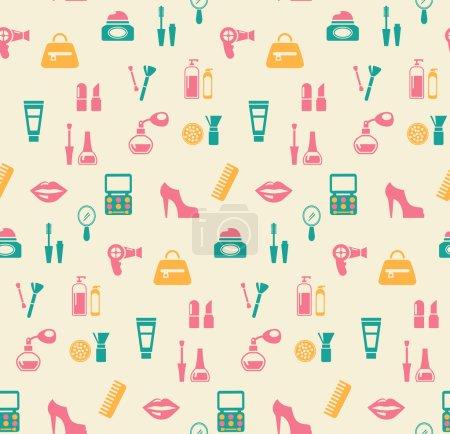 Hairstyling fashion and makeup seamless pattern