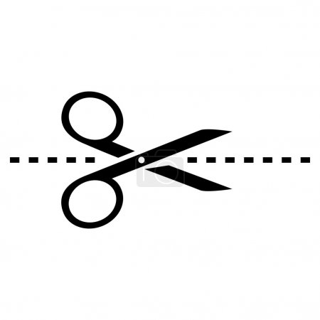 Vector modern scissors with cut lines icon on whit...