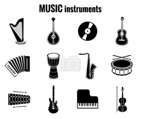 Black Music Instrument Icons on White Background