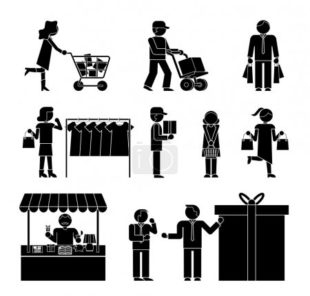 Set of shoppers and shopping icons