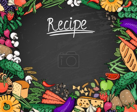Illustration for Colored Food Recipe Ingredients Such as Vegetables  Bread and Spices Background on Black Chalkboard - Royalty Free Image