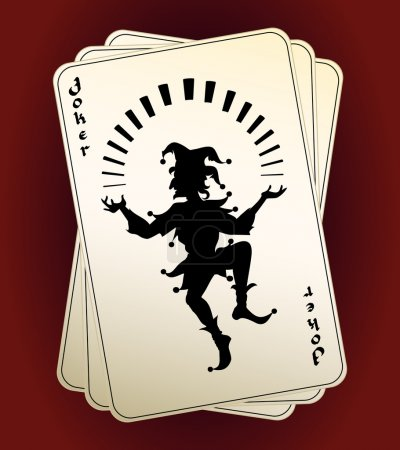 Illustration for Black vector Joker silhouette on a hand or deck of playing cards  designated as the highest trump or wild card conceptual of a casino  gambling and luck - Royalty Free Image